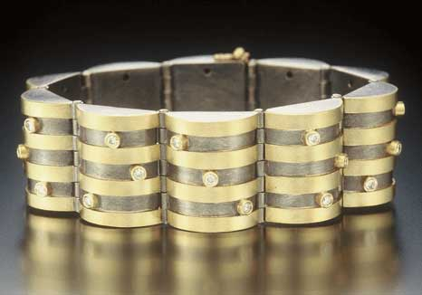 18K Gold, Silver and Diamond Hinged Half-Barrel Bracelet by Catherine Dining
