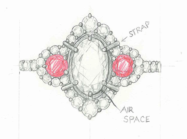 Detailed Ring Sketch by Catherine Dining