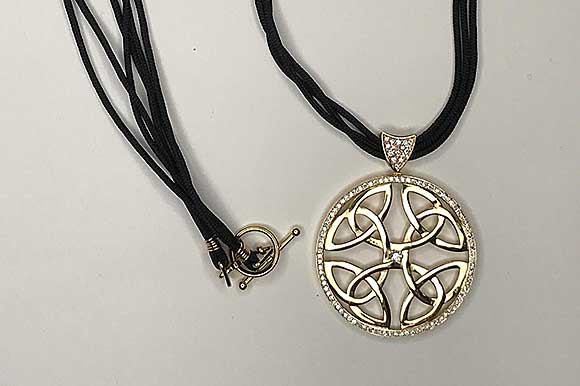 Gold Celtic Knot Pendant Necklace by Catherine DIning CG Designs