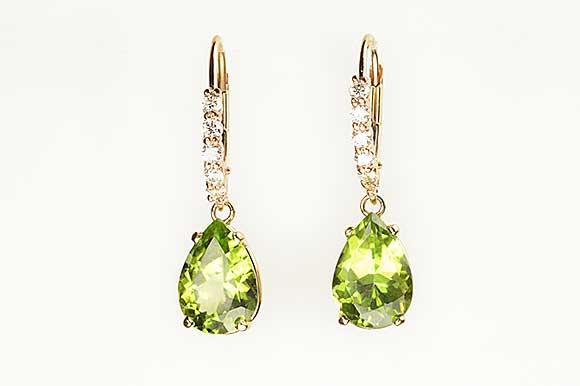 Peridot and Diamond Dangle Earrings by Catherine Dining CG Designs