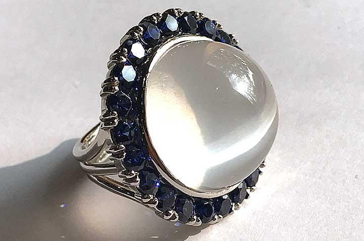 Moonstone with Sapphires by Catherine Dining CG Designs