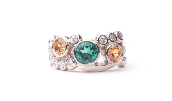 Emerald, Diamond Bubble Ring by Catherine Dining, CG Designs